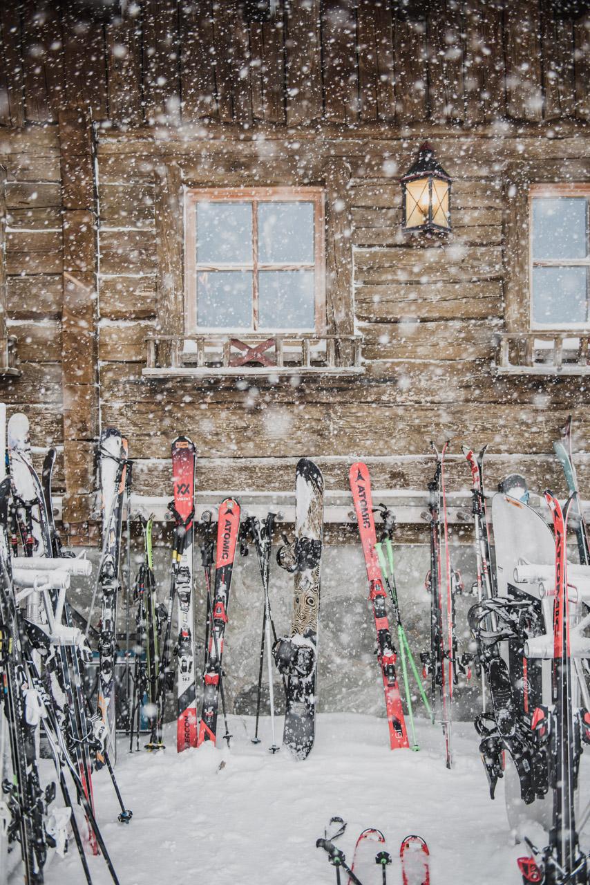 Snowfall chalet alps skiing