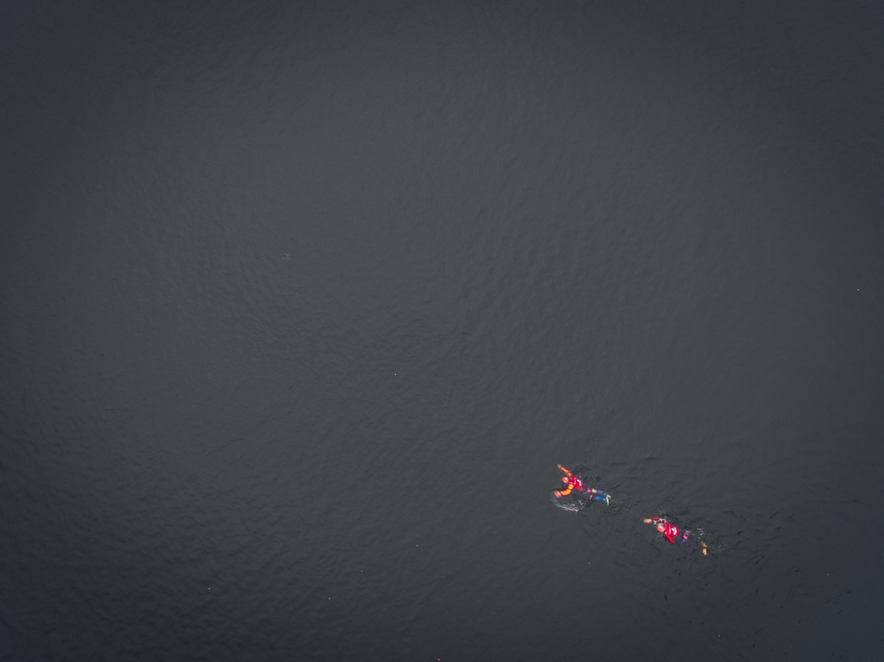 Swimrun drone shot